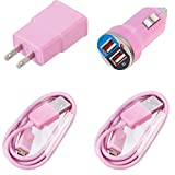 For ZTE Grand X Max+Soft Pink Home Wall & Car Charger with 6ft Data Cables Value Pack Set of 2