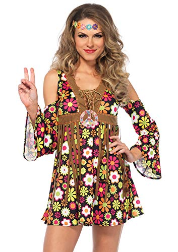 Adult Hippie Halloween Costumes - Leg Avenue Women's Starflower Groovy Hippie