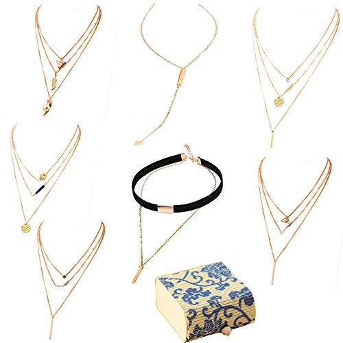 Layered Choker Pendant Necklace golden