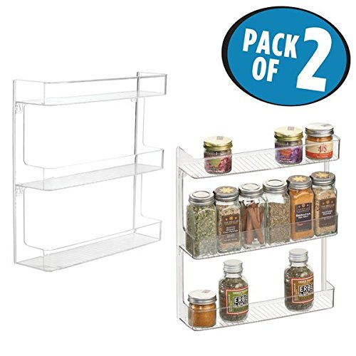 mDesign Wall Mount Kitchen Spice Organizer Rack for Herbs, S