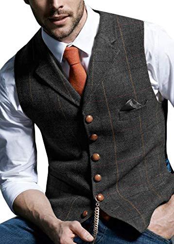 Aesido Men's Formal Vest for Suit Casual Plaid Tweed Wool Waistcoat Wedding(Black,XL) - Waistcoat Black