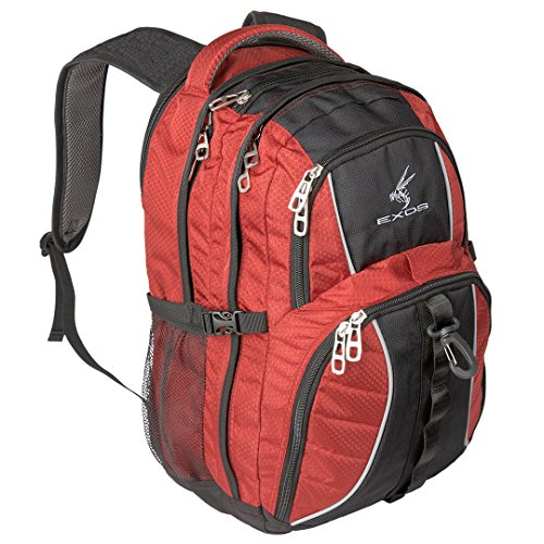 (Exos Backpack, (laptop, travel, school or business) Urban Commuter by (Red with Black Trim))