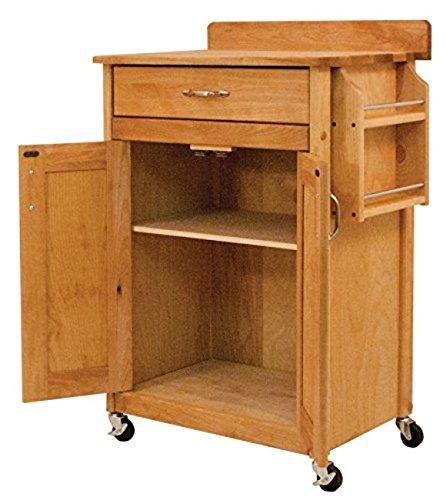 Catskill 761533 Deluxe Butcher Block Cart W/Flat Panels & Backsplash One Size Brown