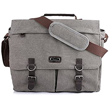 "OXA Canvas 15.6'' Laptop Messenger Bag for Men and Women,16""(L)x13""(H) x 6.5""(W),Gray-Brown"