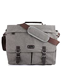 OXA Spacious Canvas Messenger Bag (up to 15.6 Inch), Padded Laptop Compartment and Shoulder Strap with Adjustable Depth at Bottom, Gray