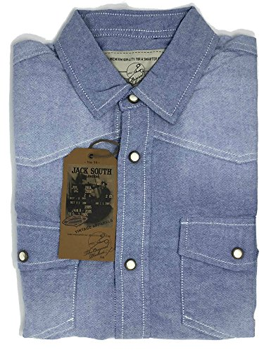 Long Sleeve Premium Denim - Jack South London Vintage Denim Regular Fit Premium Quality Western Snap Up Long Sleeve Shirt (Blue, X-Large)