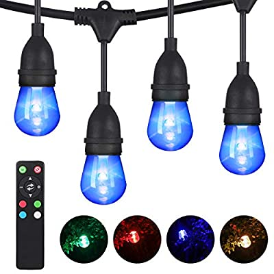 DEWENWILS RGBW Color Changing Outdoor LED String Lights, Dimmable, 52.5ft, 26 Shatterproof Bulbs(2 Spare), Commercial Grade Waterproof Patio Lighting with Remote for Garden Backyard Gazebo, UL Listed
