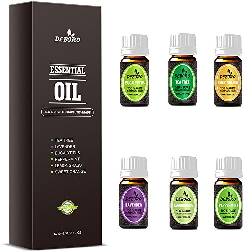 Aromatherapy Essential Oils Kits - DEBORO (2018 New Design) 100% Pure Therapeutic Grade Gift Sets for Oil Diffuser, Massage Including Tea Tree/Peppermint/Sweet Orange/Lavender/Eucalyptus/Lemongrass