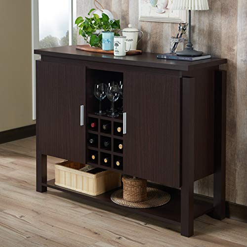 Furniture of America Celvin Contemporary Multi-Storage Walnut Buffet with Wine ()