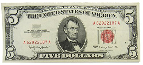 1963 Series $5 Red Seal US Note - Note States Seal United Gold