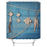 Fishing Net Shower Curtain Fangkun Shower Curtain Fish Fishing Nets Against Blue Wooden Board Design Bath Curtains - Waterproof Mildew - Polyester Bathroom Curtains Decor Set - 12pcs Shower Hooks (YL348#, 72 x 72 inches)