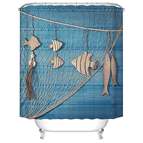 Fangkun Shower Curtain Fish Fishing Nets Against Blue Wooden Board Design Bath Curtains - Waterproof Mildew - Polyester Bathroom Curtains Decor Set - 12pcs Shower Hooks (YL348#, 72 x 72 inches)