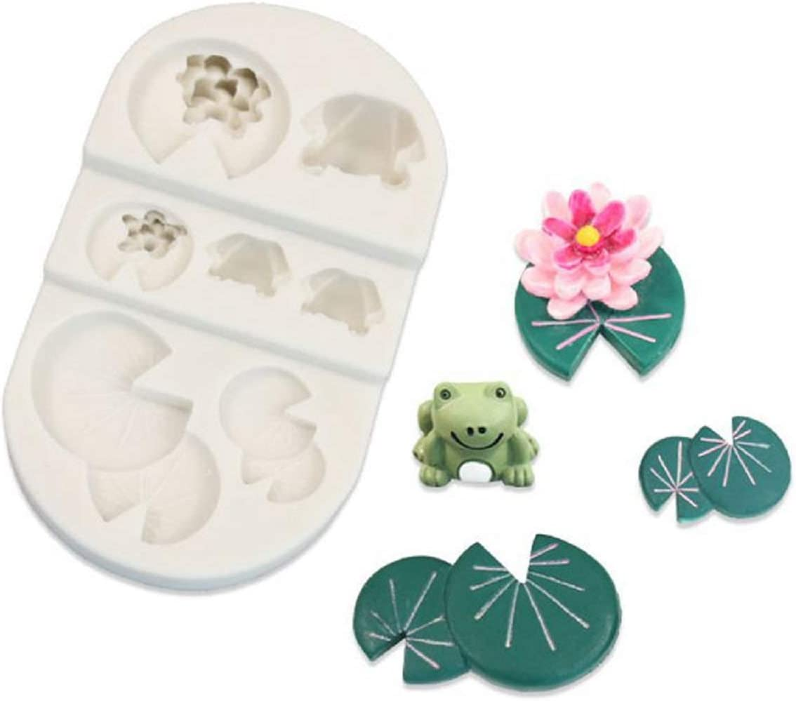 Allinlove Lotus Leaf Frog Silicone Mold Cupcake Decoration Mold Cake Decorating Baking Mold Chocolate Candy Molds Sugarcraft Fondant Mold DIY Polymer Clay Crafting Resin Mold