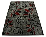 Normian Collection Flowers Floral Design Area Rug Rugs Area Rug 6 Color Options (Grey Red, 6'7″ x 9'2″)