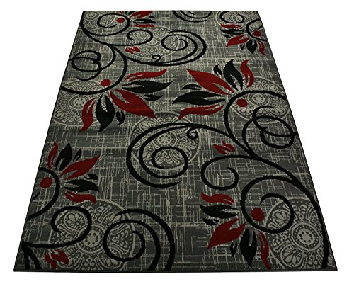 Normian Collection Flowers Floral Design Area Rug Rugs Area Rug 6 Color Options (Grey Red, 6'7