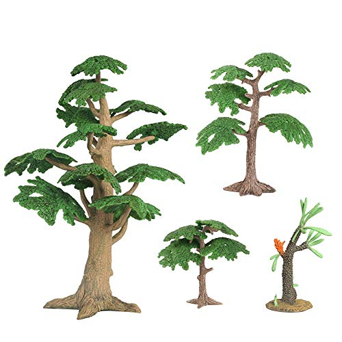 (X Hot Popcorn 4 Style Model Trees Fake Coconut Palm and Pine Plastic Mixed Artificial Tree for DIY Scenery Landscape, Natural Green )