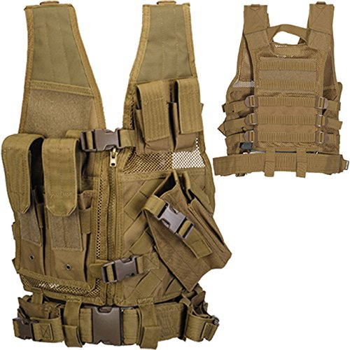 Lancer Tactical YOUTH SIZED 600 Denier Nylon Tactical Cross Draw Vest with Embedded Pistol Holster Magazine Pouches Flashlight Pouch Pistol Belt Admin Pockets Breathable Nylon Mesh Interior - TAN