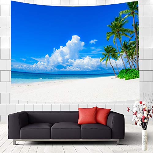 Palm Tree Decor Ocean Coastal Tapestry Wall Hanging Summer Beach Seaside Scene Palm Trees Island Blue Sky Fabric Tapestry Wall blanket Art for Home College Dorm Living Room Bedroom Bedspread, - Wall Coastal Hanging