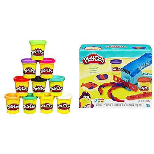 Play-Doh 10-Pack of Colors (Amazon Exclusive) with Play Doh Fun Factory Set Bundle