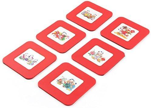 eDealMax Plaza de plástico en forma de caso w Red de Hogares taza de café Calor Mat Resistente 6pcs