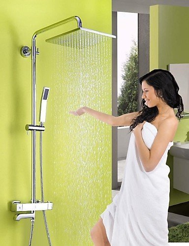 Ling@ Shower Tap Shower Faucet Contemporary Thermostatic / Rain Shower / Handshower Included Brass Chrome price