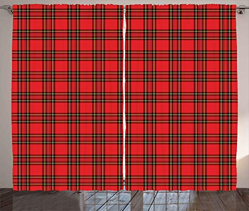 "Ambesonne Retro Curtains, Classical Plaid Pattern Scottish Striped Tartan Traditional Graphic Illustration, Living Room Bedroom Window Drapes 2 Panel Set, 108"" X 108"", Vermilion Black"