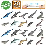 Shark Toy Figure, 20 Pack Rubber Bath Toy Set,Food Grade Material TPR Super Stretchy,Zoo World Ocean Sea Animal Squishy Floating Bathtub Toy Party Favors,Realistic Shark Dolphin Whale Figure