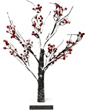 Lightshare Snow Tree Bonsai with Red Berry Lighted