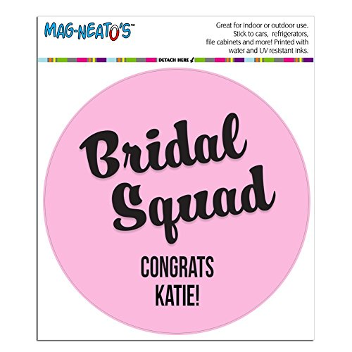 Graphics and More Personalized Custom Bridal Squad Wedding Marriage Bachelorette Black Pink Circle Automotive Car Refrigerator Locker Vinyl Magnet