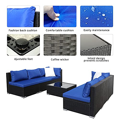 OUTDOOR DIAMOND 7-Piece Rattan Patio Furniture Sets, Outdoor Sectional Wicker Sofa Used for Your Garden,Yard, Free Conversation with Cushion and Coffee Table -Black