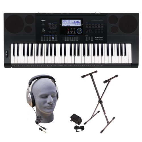 Casio Inc. CTK6200 PPK 61-Key Premium Keyboard Pack with Samson HP30 Closed-Cup Headphones, Power Supply and Stand