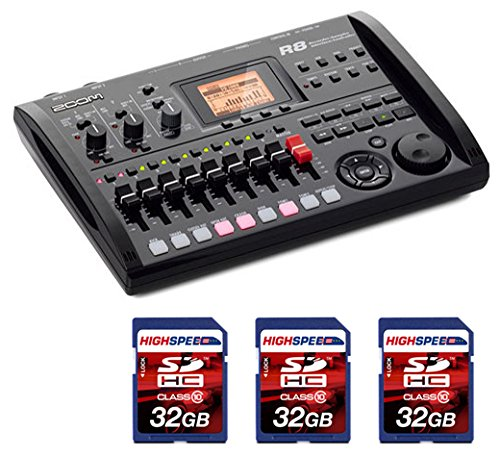 Zoom R8 Multitrack SD Recorder Controller and Interface + (3x) 32GB Memory Cards