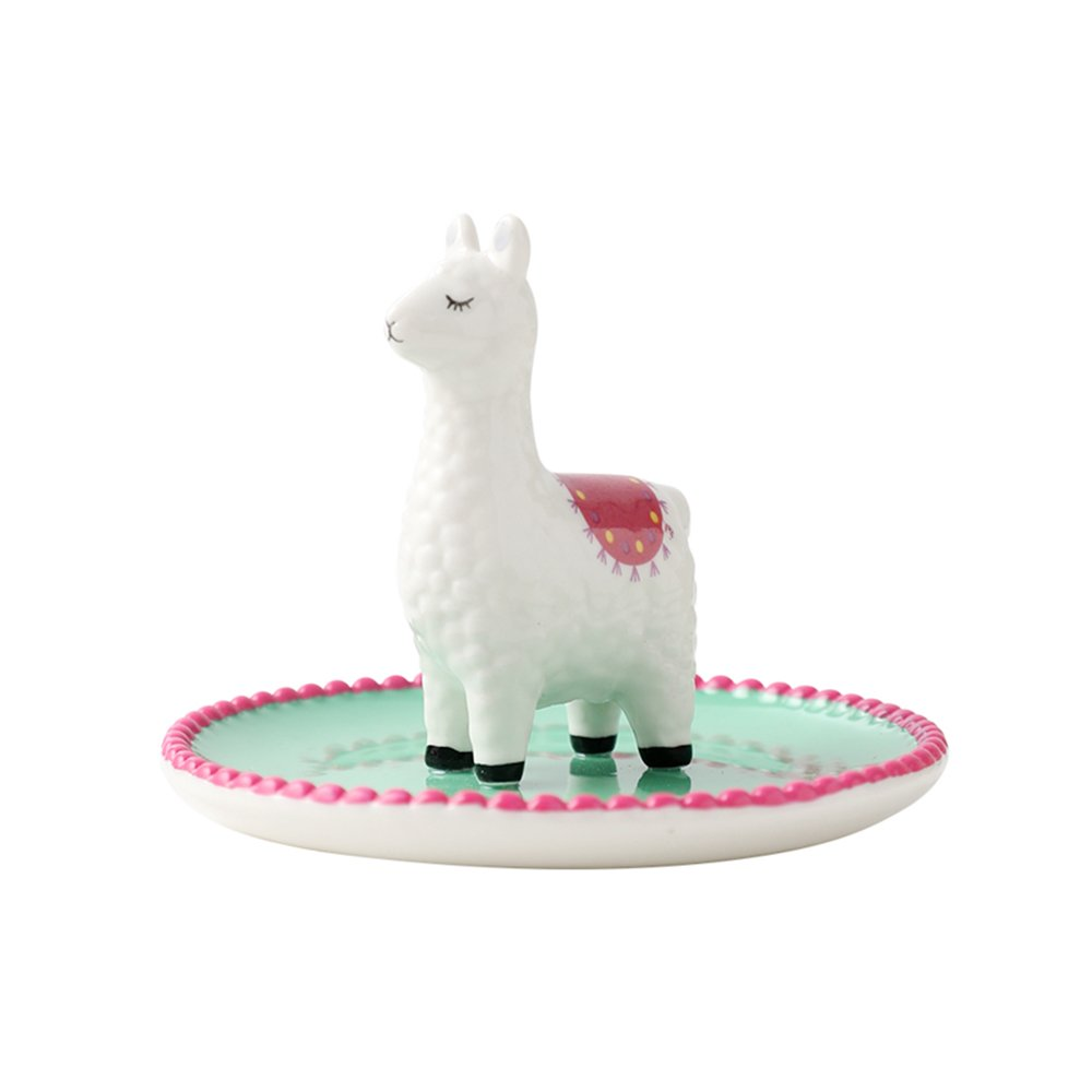 Colias Wing Home Decoration Desk Ornaments -Cuddly Animal Alpaca Shape Stylish Design Ceramic Trinkets Tray Necklace Earrings Rings Stand Display Organizer Holder Jewelry Holder Decor Dish Plate-Green