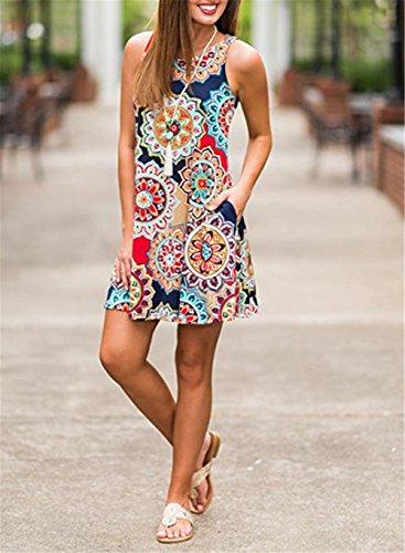 e8e0f24e4e026 Luranee Womens Casual Sleeveless Dresses Knee Length Tunic Dress with  Pockets