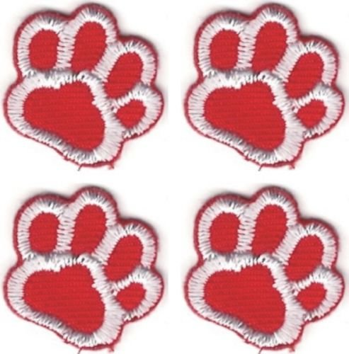 OOHHOO Lot of 4 Red White Dog Animal Paw Print Embroidery Patch