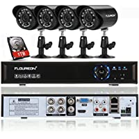 Floureon 4CH 960H Onvif DVR Digital Video Recorder + 4 x 900TVL IR-CUT Night Vision Bullet Camera + 1TB HDD, Outdoor Indoor Waterproof Home Security Surveillance Camera System Kit