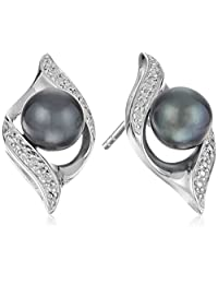 Sterling Silver Freshwater Cultured Pearl and Diamond Accent Drop Earrings