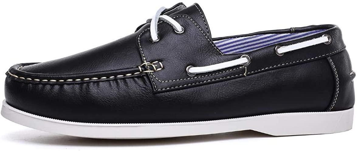 New Mens Faux Leather LACE UP Deck Boat