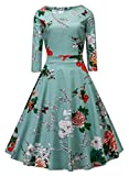 BestWendding Vogtage 1950's Long Sleeve Retro Floral Vintage Dress with Defined Waist Design XL Size
