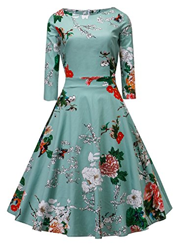 Women's Dress 3/4 Sleeve Calf-Length Retro Floral Vintage Dress Audrey Hepburn Style Light Blue Large Size
