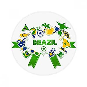 Alfombrilla de suelo antideslizante para mascotas, diseño de fútbol de Brasil (redonda, 60 x 50 cm)