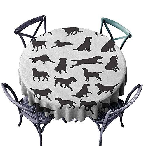 XXANS Tablecloth for Kids/Childrens,Labrador,Table Cover for Home Restaurant,60 INCH Black and White (Best Food For Labrador In India)