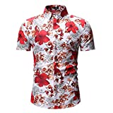 Long Sleeve T Shirts for Boys,Men's Printed Casual Button Down Short Sleeve Shirt Top Blouse,Novelty & More,Red,XL
