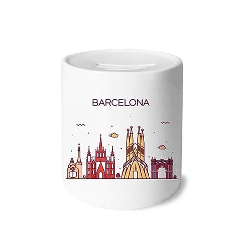 DIYthinker Patrón Barcelona España Plana Landmark Caja de Dinero de Las Cajas de ahorros de cerámica