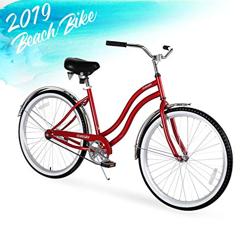 ENSTVER Urban Lady Beach Cruiser Bicycle (Red w/Black Seat/Grips, 26