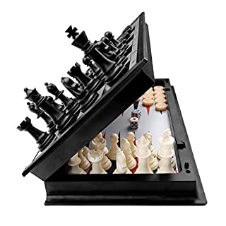 3 in 1 Chess Checkers Backgammon Set, KAILE Magnetic Chess for Kids Adults Travel Magnet Chess with Folding Case 13""