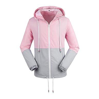 c0be3c85175be9 Nantersan Women s Windbreakers Light Weight Windproof Waterproof Raincoat  Outdoor Hooded Outwear Jacket Pink