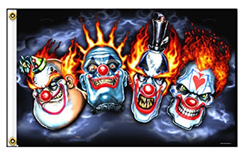 Flaming 4 Clown Jester Evil Faces Polyester 3' x 5' Deluxe Biker Flag