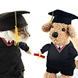 OSPet Funny Pet Graduation Costume with Black Graduation Hat for Small Dogs & Cats L