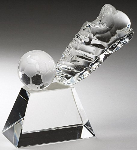 Customizable Soccer Shoe and Ball Optical Crystal Award,includes Personalization